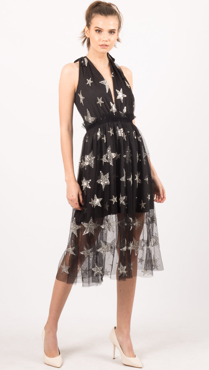 Gwen Star Dress - Black/Silver