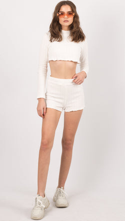 White Two Piece Set, Long Sleeve Crop Top and Shorts