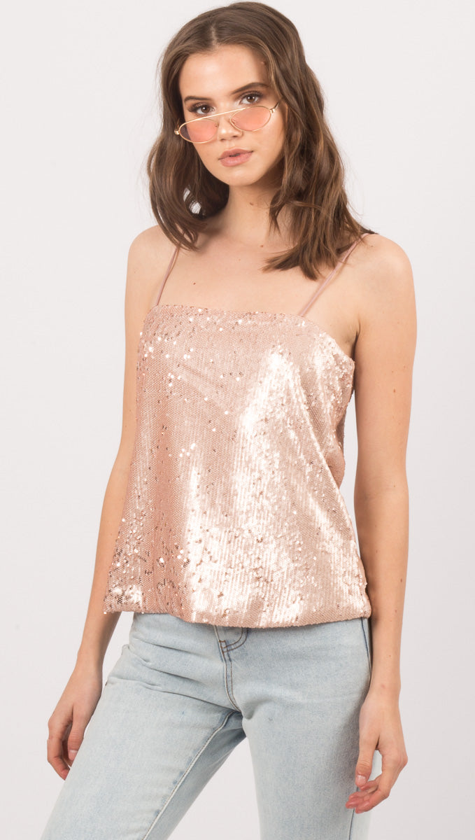 Janessa Sequin Cami - Pink Champagne