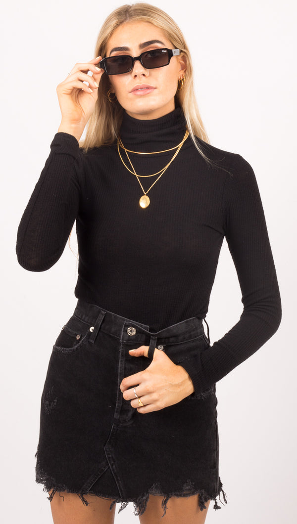 Julia Rib Turtleneck Top - Black