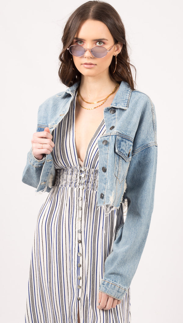 Lexie Distressed Crop Jacket - Denim