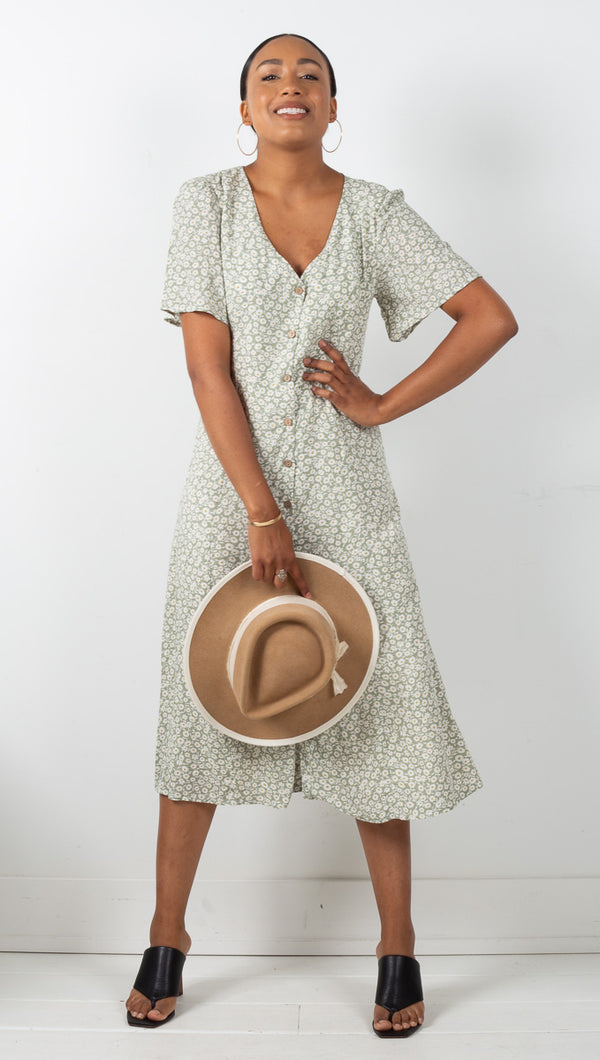Genevieve Floral Button Down Midi Dress - Green