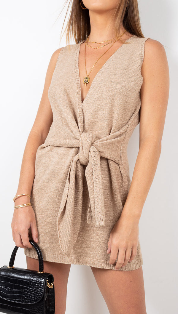 Ithaca Knit Mini Dress - Taupe