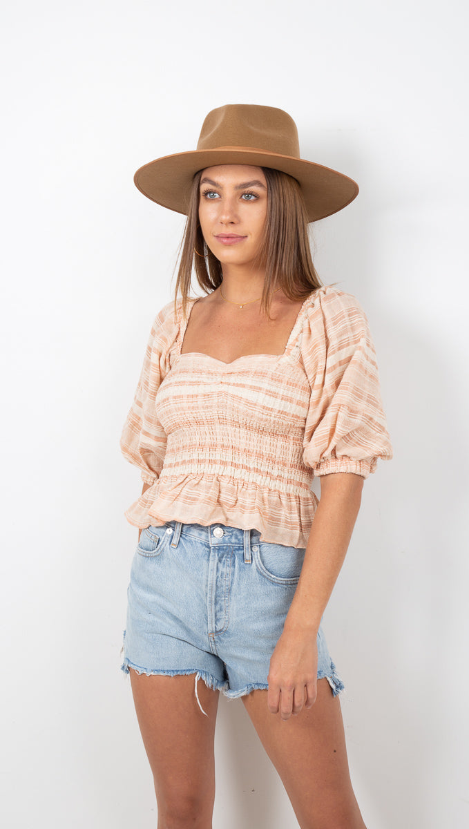 Madrid Smocked Crop Top - Natural