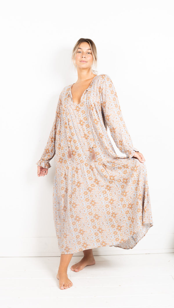 Vagabond Printed Catania Maxi Dress Baby Blue Tan