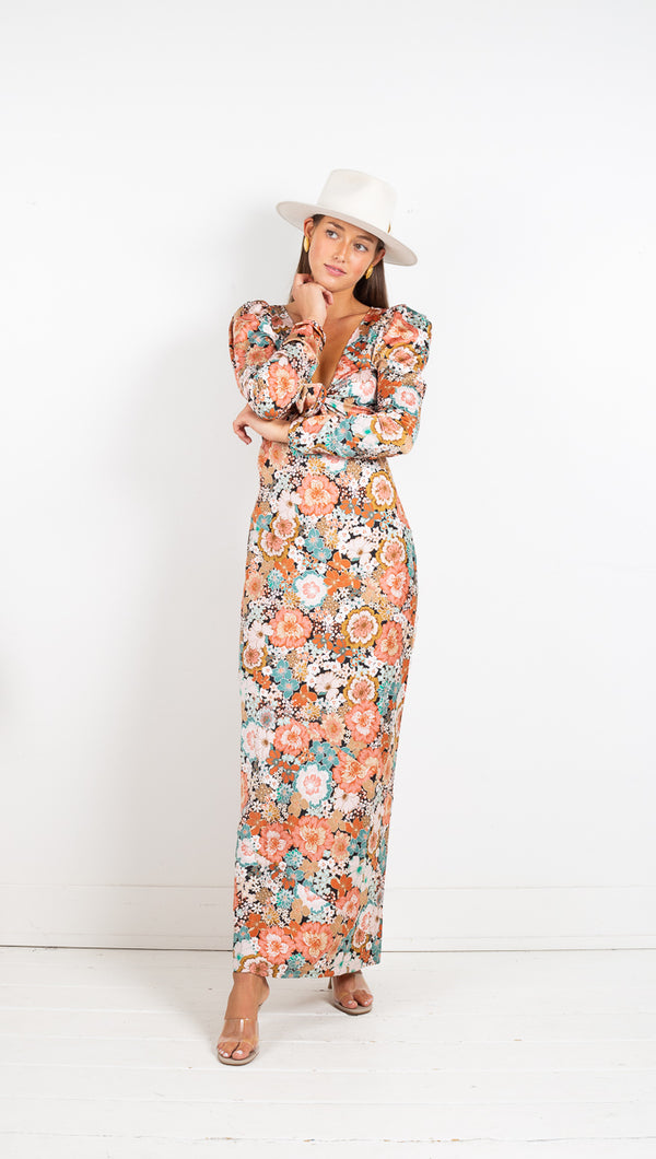 For Love And Lemons Polly Maxi Printed Dress