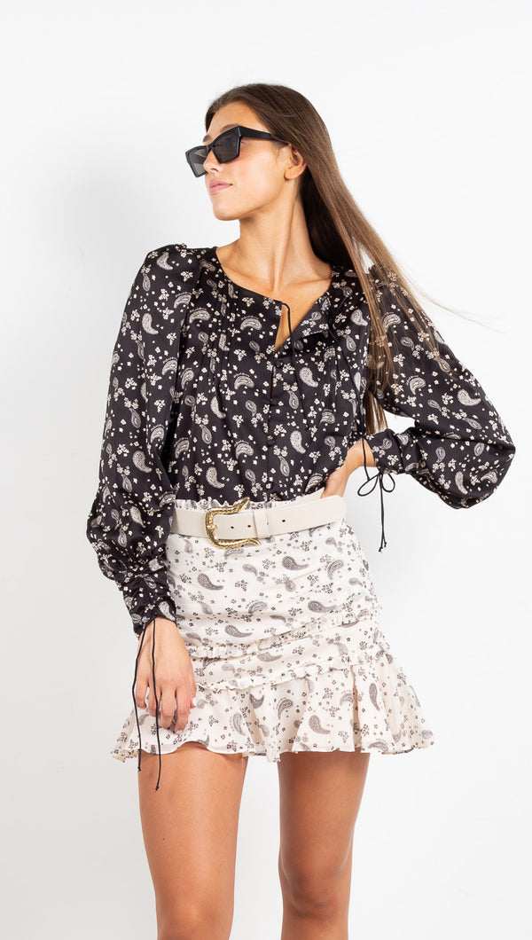 Paisley Mini Skirt - Sand