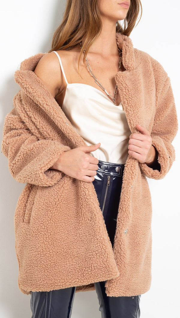 Vagabond Tan Oversized Teddy Coat