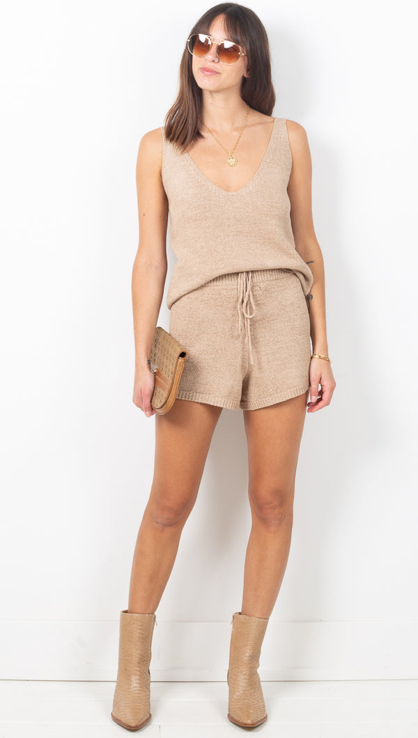 Summer Daze Knit Tank/Shorts Set - Taupe