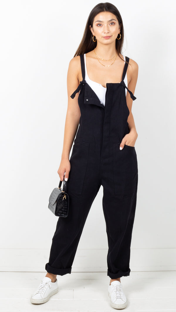Easy Ride Overalls - Black Denim