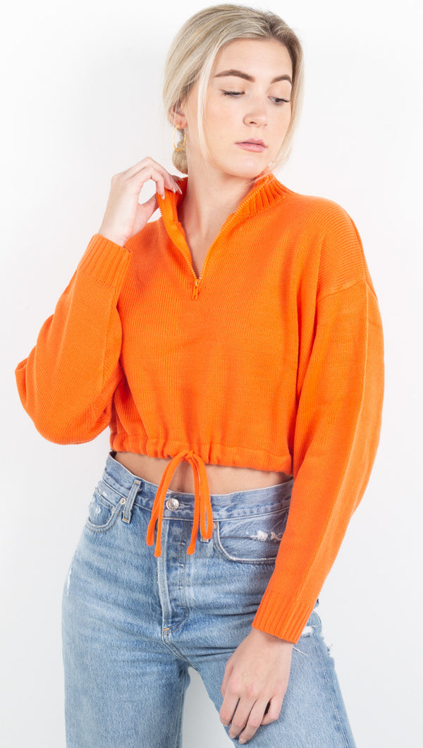 Devin Mock Neck Sweater - Neon Orange