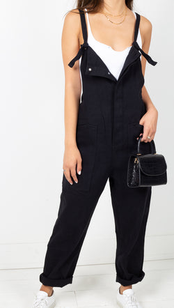 Vagabond Black Denim Oversized Overalls