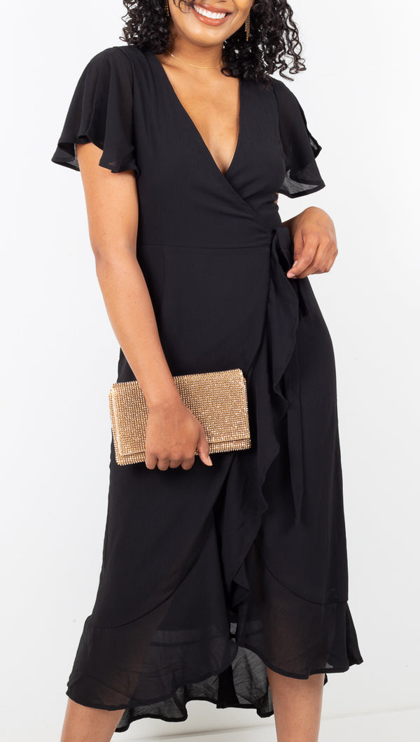 Vagabond Black Ruffle Midi Wrap Dress