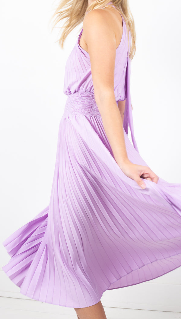 Violette Pleated Dress - Lavender
