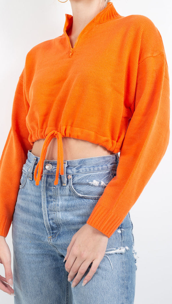 Vagabong Orange Half Zip Sweater