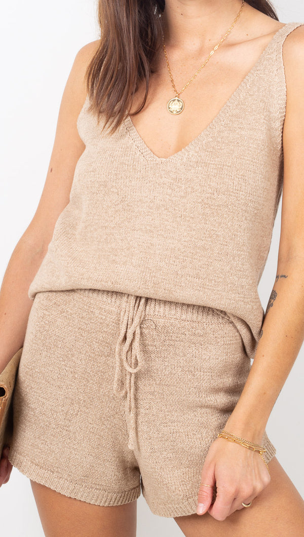 Vagabond Light Tan Knit Tank and Shorts Set