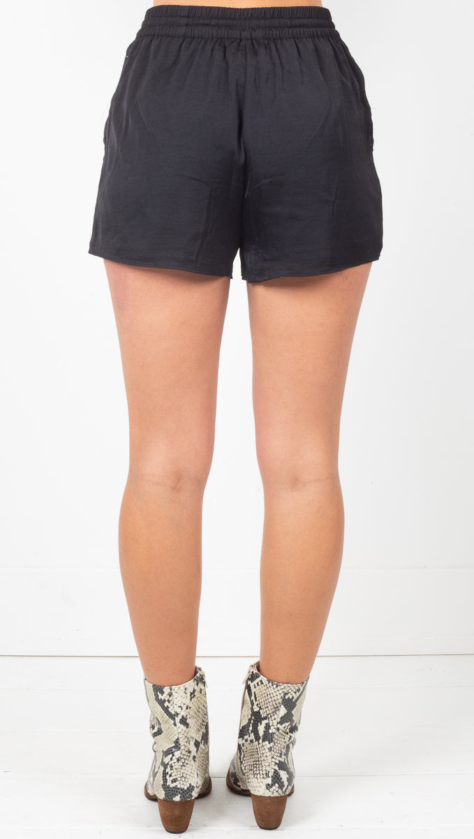 Kaia Satin Shorts - Noir