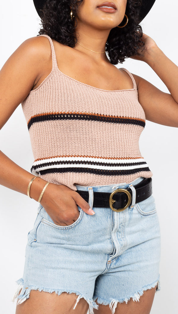 Vagabond Nude Knit Striped Tank