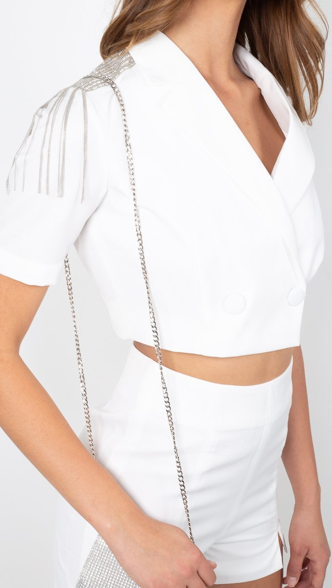 Vagabond White Crop Blazer and Short Matching Set