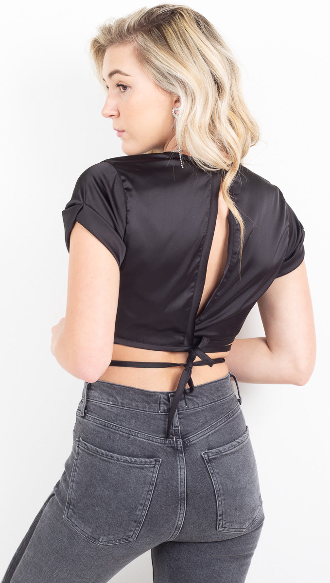 Raquel Tie Crop Top - Black