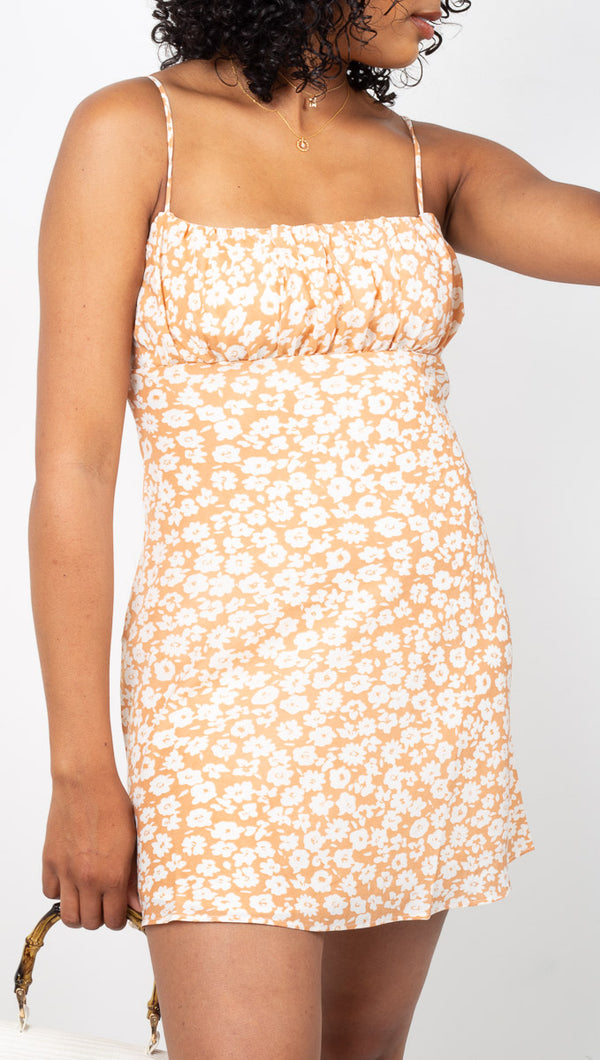 Vagabond Orange Floral Printed Mini Dress