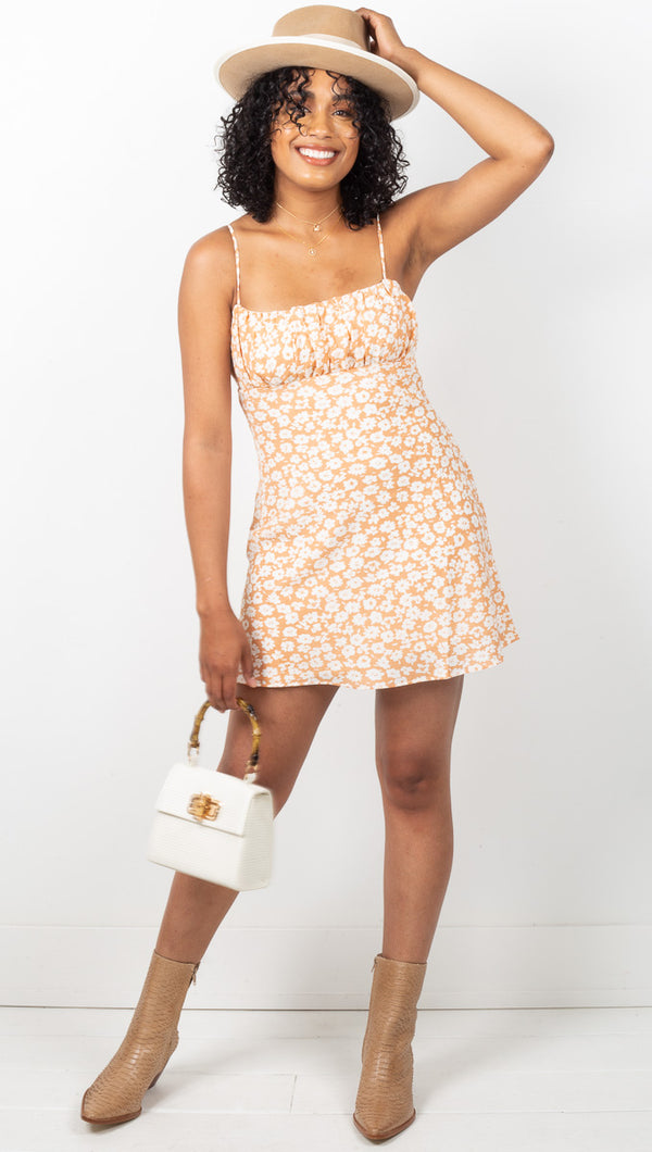 Adelaide Floral Mini Dress - Cantaloupe