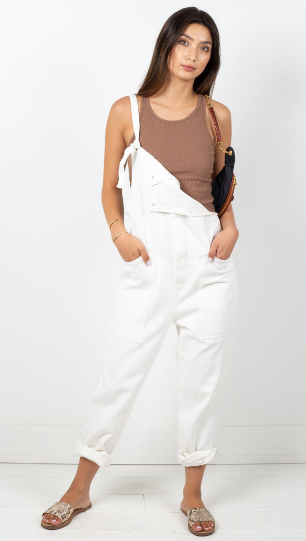 Easy Ride Overalls - White Denim