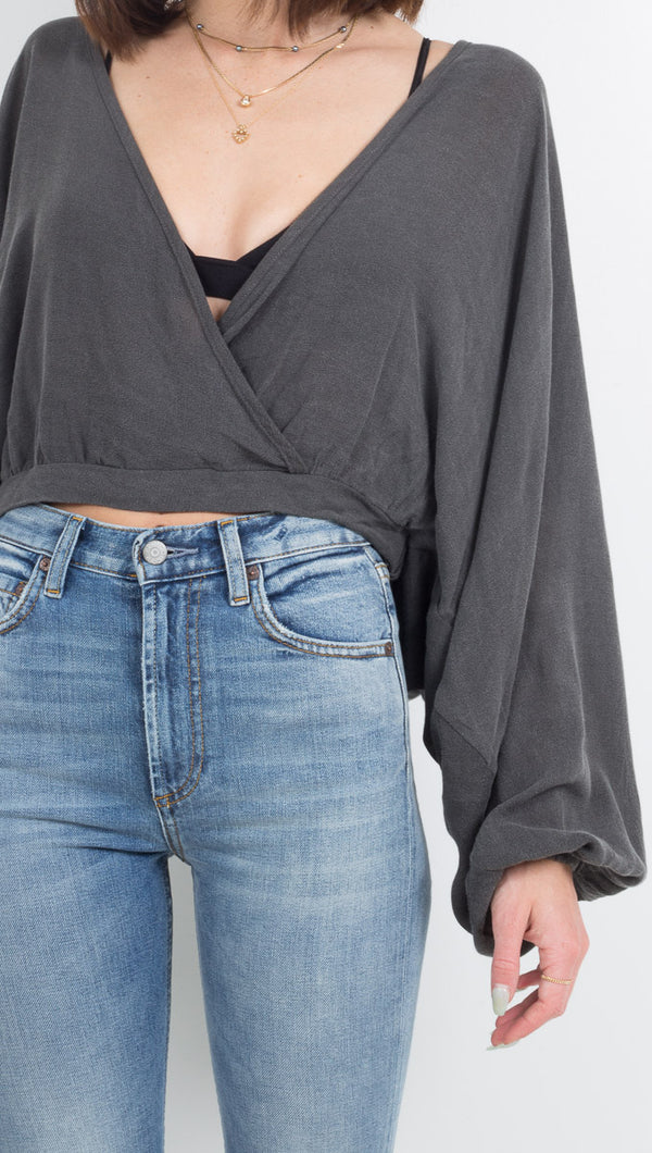 Vagabond Dark Grey Long Sleeve Crop Top