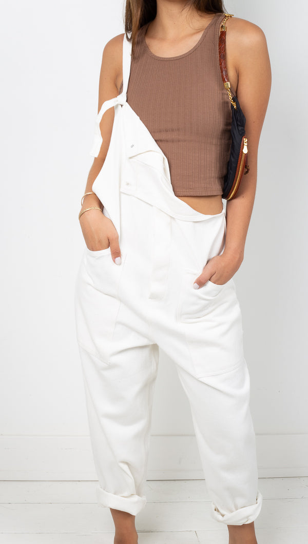 Vagabond White Denim Oversized Overalls