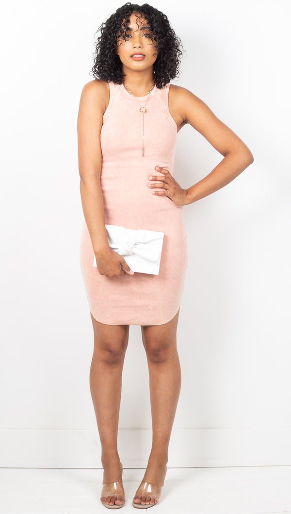 Malibu Ribbed Tank Dress - Coral