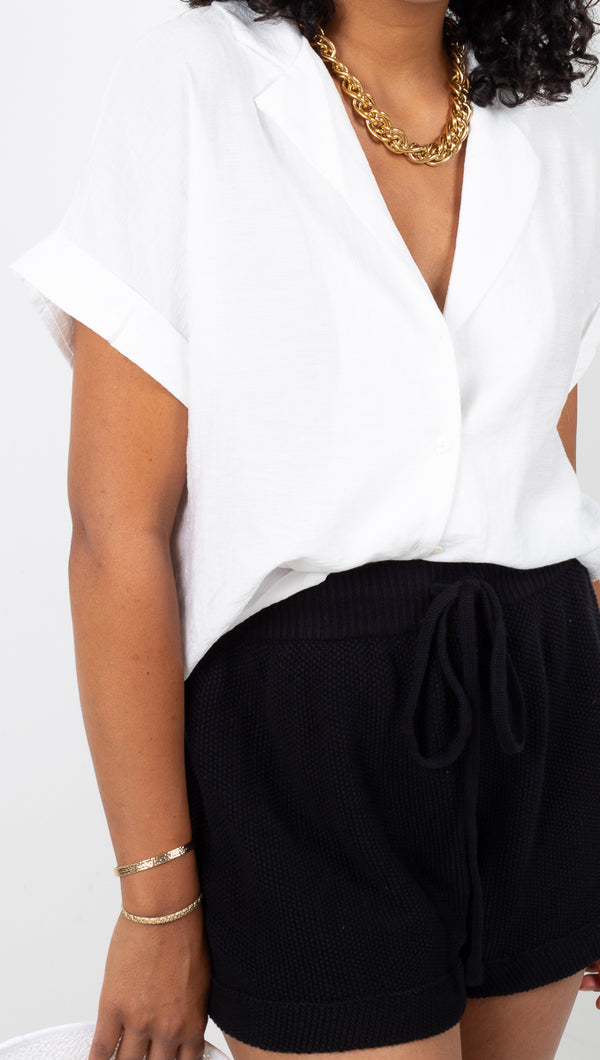Vagabond Lightweight White Short Sleeve Button Down Blouse