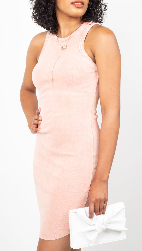 Vagabond Coral Pink Ribbed Bodycon Mini Dress