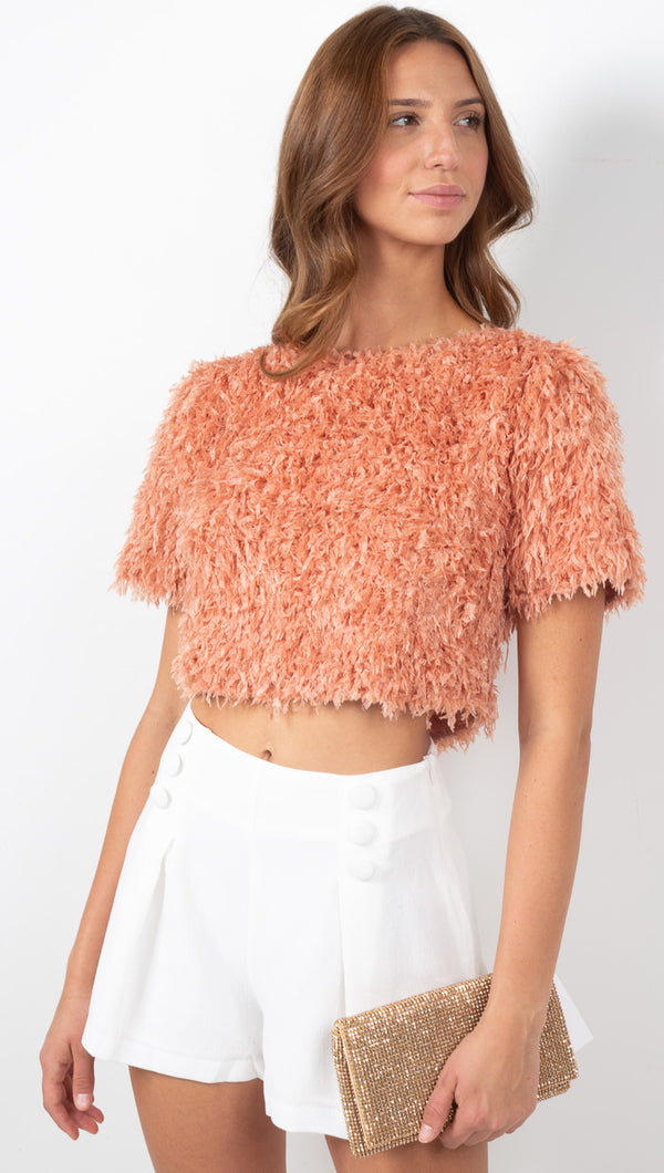 Bri Short Sleeve Feather Crop Top - Apricot