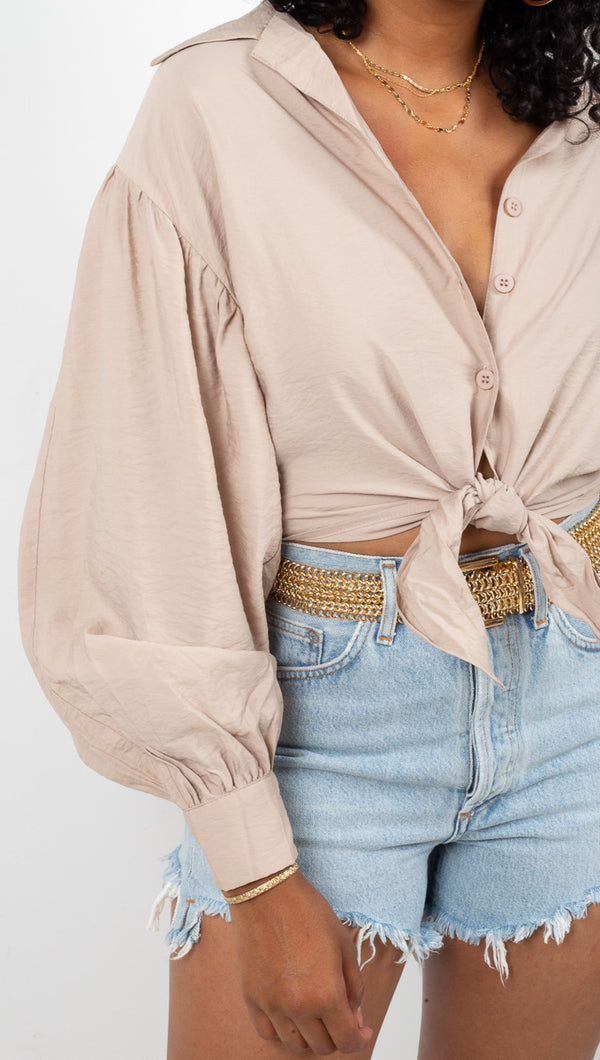 Vagabond Nude Crop Button Down Blouse With Puff Sleeves