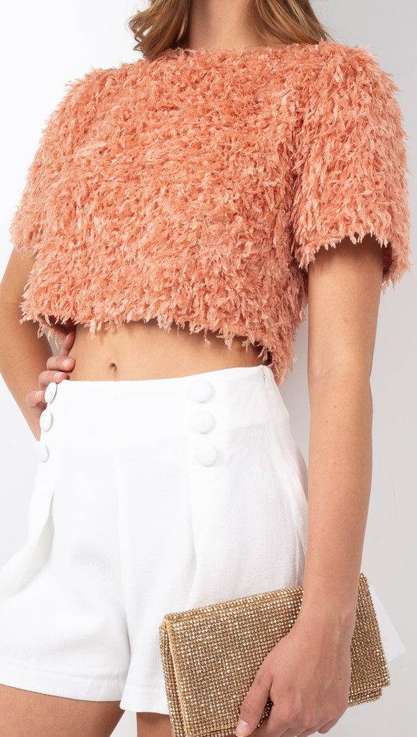 Vagabond Peach Textured Knit Crop Top