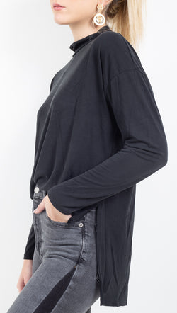 Jenna Mock Neck Top - Black