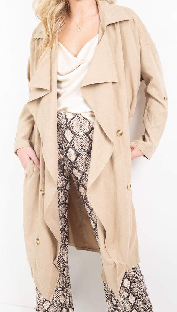Vagabond Taupe Lightweight Trench Coat