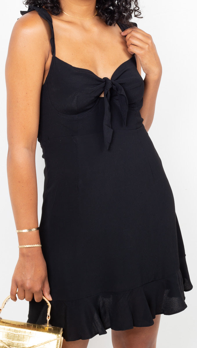 Vagabond Black Mini Dress With Front Tie and Underwire Cups