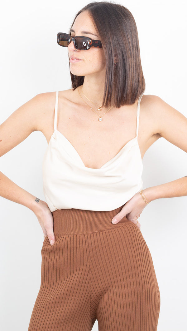 Everly Cowl Neck Tank - Champagne