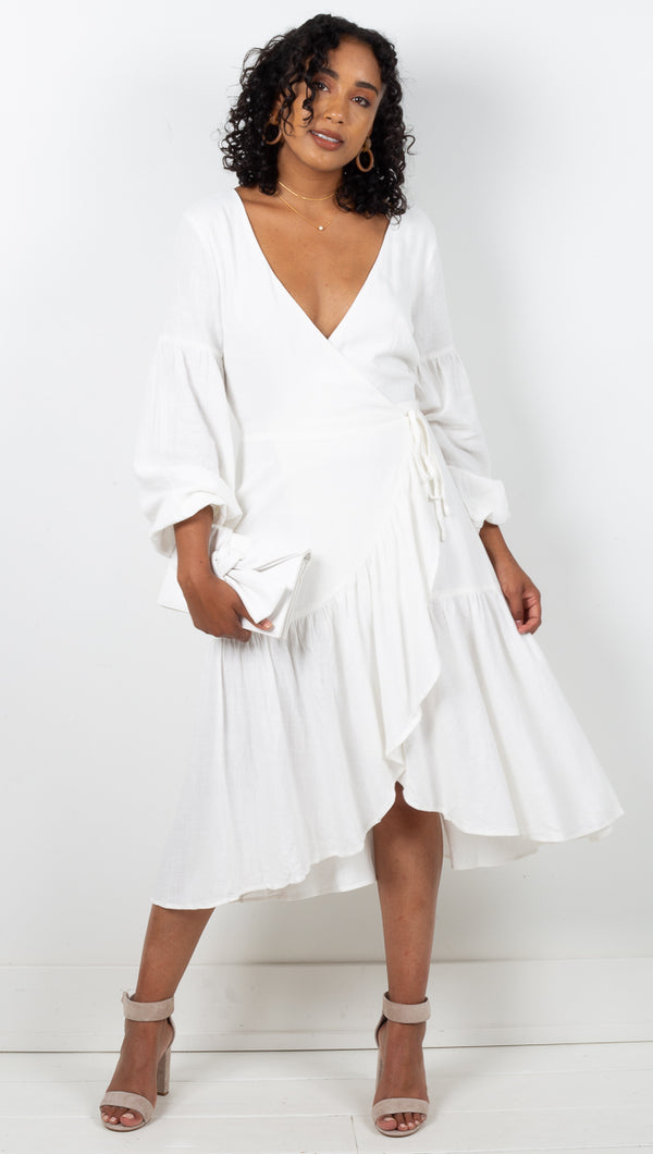 Havana L/S Backless Wrap Midi Dress - White