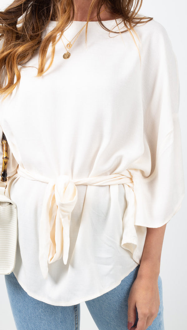 Vagabond Ivory Short Sleeve Blouse with Fabric Belt