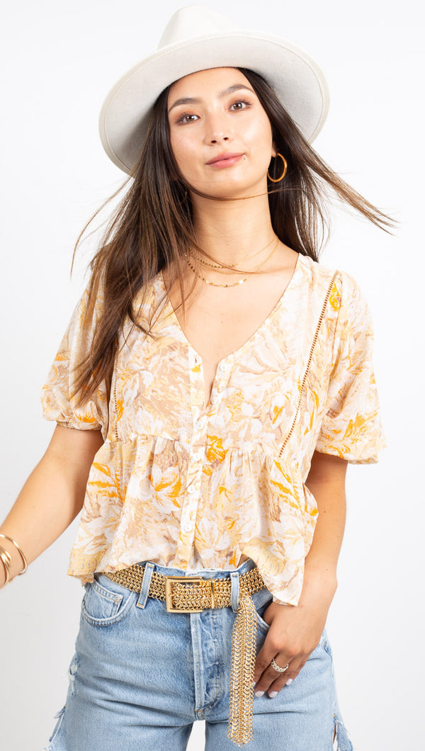 Isla Floral Babydoll Blouse - Yellow