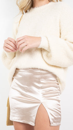 Vagabond Cream Satin Mini Skirt