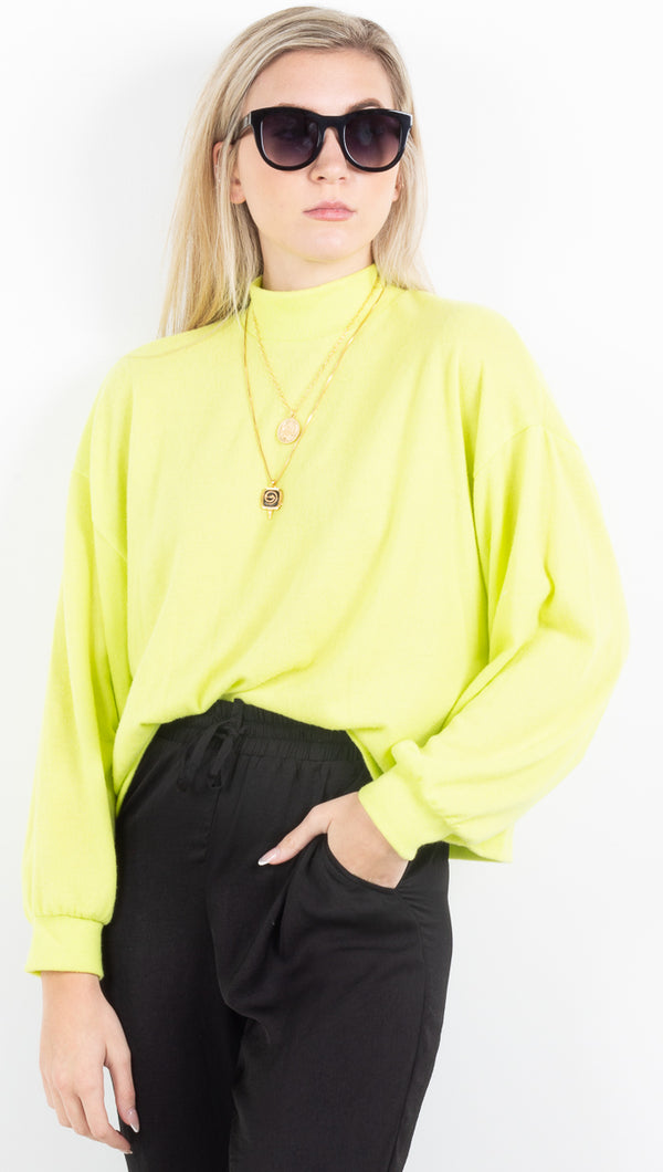 Aisha Mock Neck Cropped Sweater - Neon Green