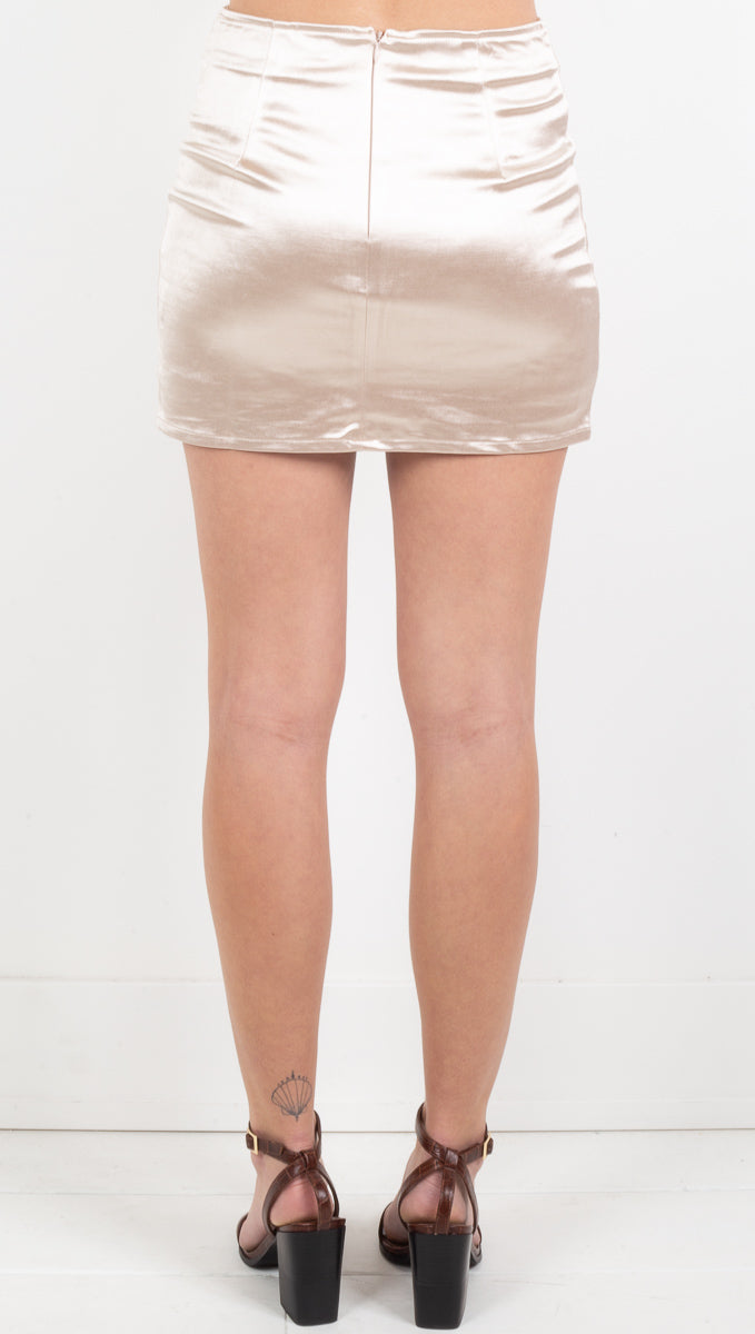 Lennon Satin Mini Skirt - Cream