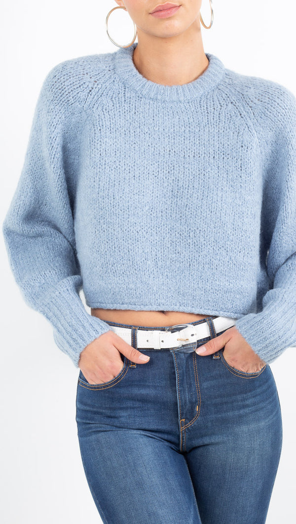 Vagabond light blue cropped knit sweater