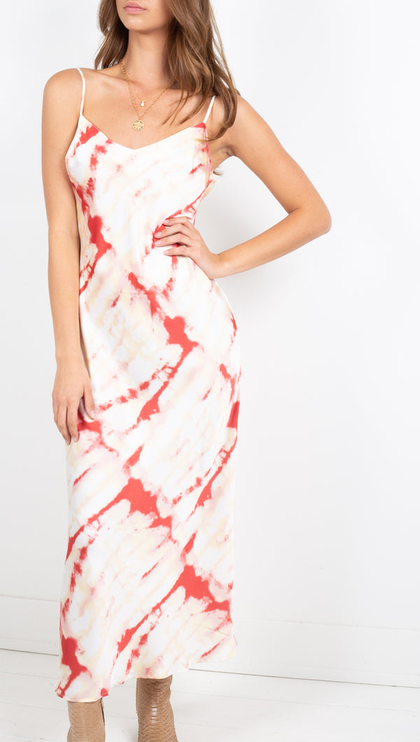 Mollie Satin Slip Dress - Cream Red Tie Dye