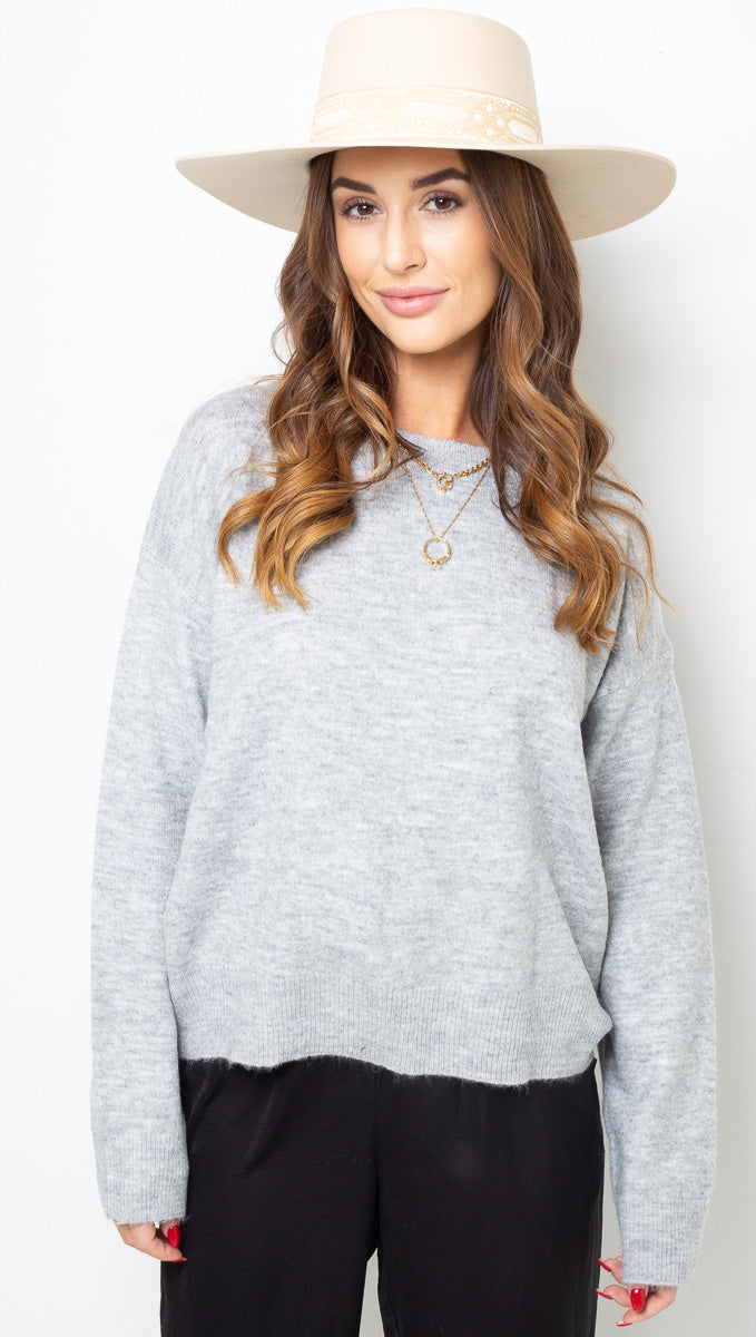Heather Crewneck Sweater - Grey