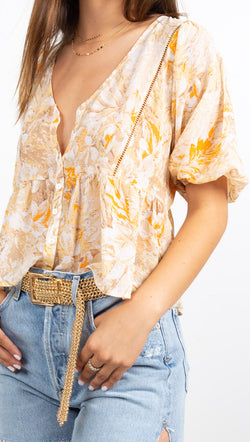 Vagabond Orange and Tan Floral Button Down Short Sleeve Blouse