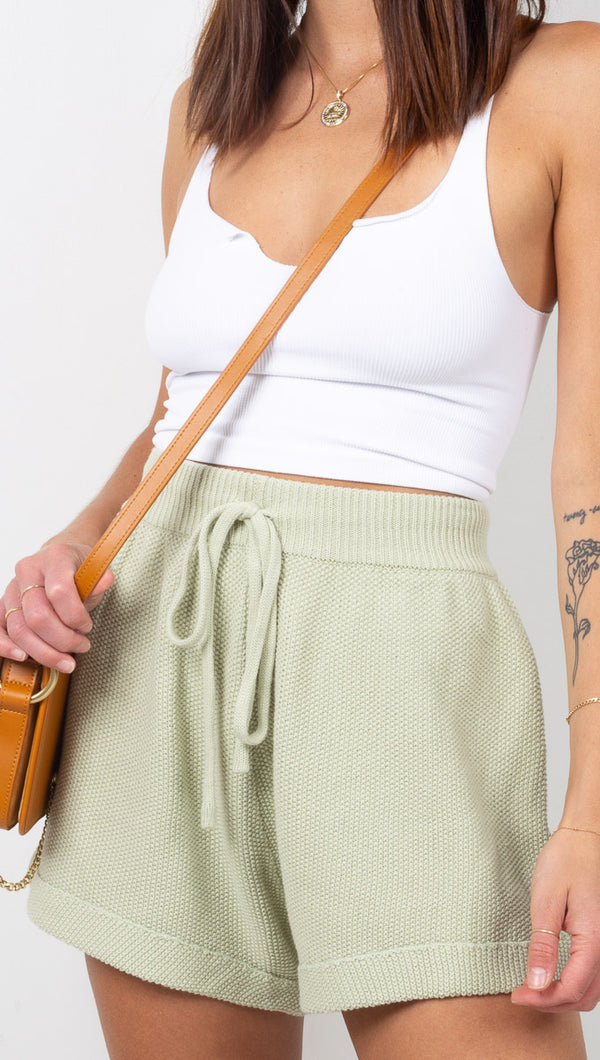 Vagabond Sage Green High Rise Knit Shorts